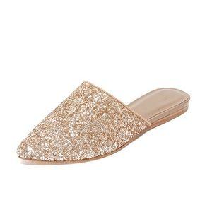 Joie Adiel Glitter Tan Pointed Toe Mules Flats